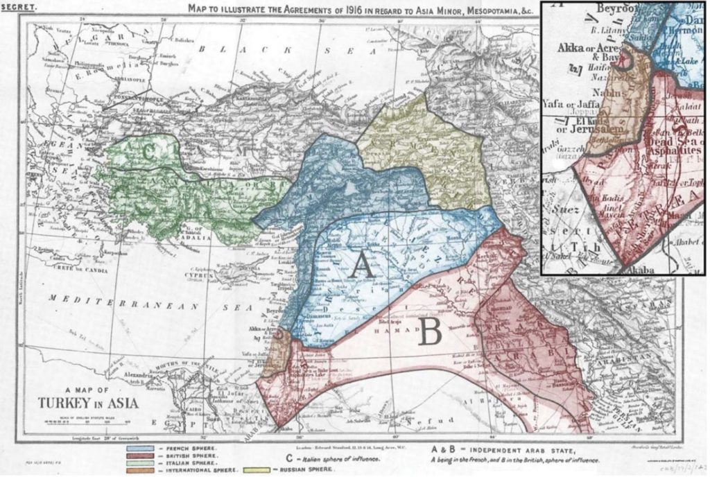 Map to illustrate the Agreements of 1916 in regard to Asia Minor, Mesopotamia, &c.