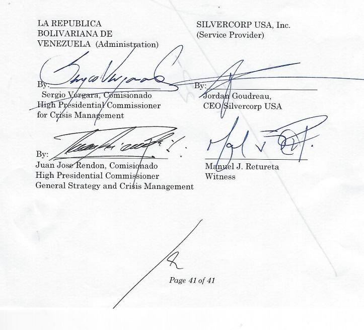 Screenshot signature page of Silvercorp coup contract